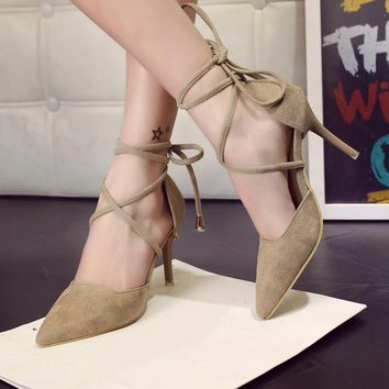 Vintage Lace-Up Heel Pumps