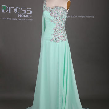 Green Sweetheart One Shoulder Rhinestones Beading Long Prom Dress/Ming Green Prom Dress Chiffon/Long Party Dress/Flowy Prom Dress DH321