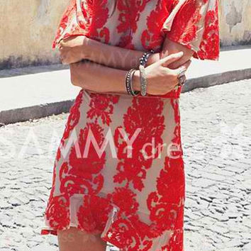 Red Embroidered Backless Shift Dress