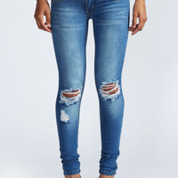Loren Distressed Rip Knee Skinny Turn Up Jeans