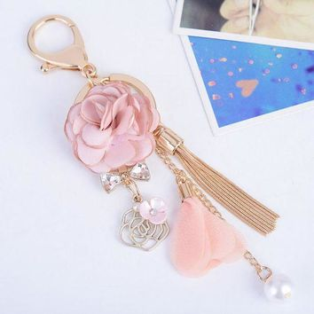 LMFIJ6 2017 New Rose Flowers Keychain Key Chain Gold Color Crystal Bow Chain Tassel Key Ring Porte Clef Bag Charm Pendant Jewelry Gifts