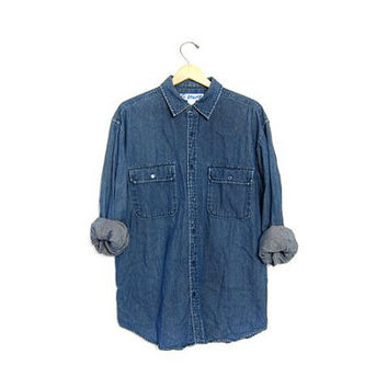 Vintage denim shirt. Button up pocket shirt. Slouchy boyfriend jean shirt. Cotton Work Shirt. Oversized grunge shirt. Mens Medium
