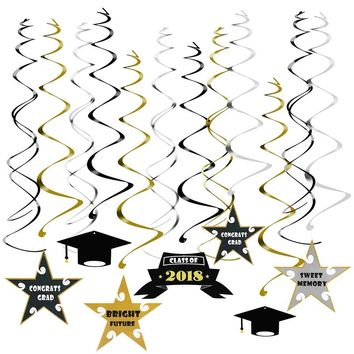 PBPBOX 30pcs Graduation Dizzy Danglers 2018 Graduates Party Spiral Foil Hanging Decoration