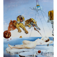 Gala and the Tigers Art Print by Salvador Dalí at Art.com