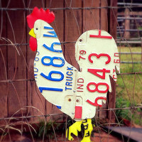 Upcycled Vintage License Plate Chicken Rooster Wall Art