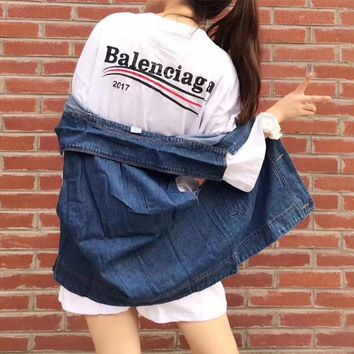"""Balenciaga"" Casual Fashion Letter Print Middle Sleeve T-shirt Dress Denim Cardigan Sleeveless Coat Set Two-Piece"