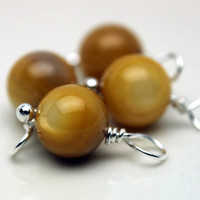 Yellow Round Glass and Silver Bead Dangle Drop Charm Set