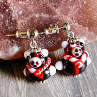 Teddy Bear Earrings Jewelry Cute Animal Earrings Lampwork Glass Bead Earrings Beadwork Beaded Girl Gift Women Accessories Gift Ideas For Her