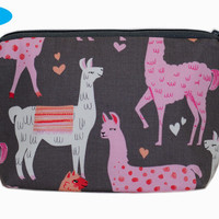 NEW Notions Pouch | Cosmetic Case | Makeup Bag | Llama | Alpaca | Zippered Pouch