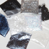 Silver, White, Black and Blue SOLVENT RESISTANT Glitter Sampler Set of 8 for Glitter Nail Art, Glitter Nail Polish and Glitter Crafts