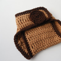Brown with Dark Brown Diaper Cover - 0 to 6 Months - Handmade Crochet - Ready to Ship