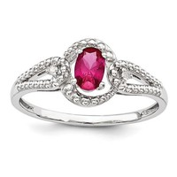 Sterling Silver Created Ruby And Diamond Beaded Swirl Ring