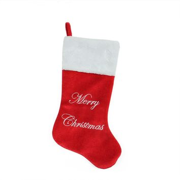 "20.5"" Red & Silver Embroidered ""Merry Christmas"" Velvet Christmas Stocking with White Faux Fur Cuff"