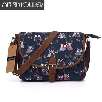 Annmouler Brand Women Small Bags Canvas Shoulder Messenger Bags Patchwork Zipper Bag Owl Printing Adjustable Strap Crossbody Bag