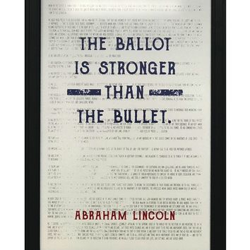 """Abraham Lincoln Ballot Stronger than Bullet Quote Office Art Print Blue and Red - 13x19"""""""