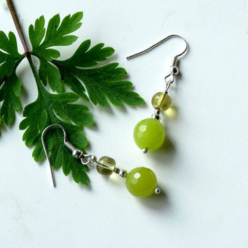 Summer earrings - Lime green stone, glass and sterling silver dangles