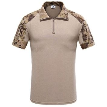 Mens Outdoor Quick-drying Patchwork Zipper Collar Knitted Tactical Short Sleeve T-shirt