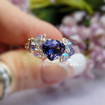 Swarovski Tanzanite Heart Handmade Ring - Wire Wrapped - Signature Design Ring - Fine Jewelry December Birthstone