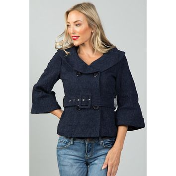 Women's casual fall winter fashion style jackets textured double breasted jacket
