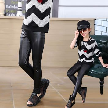 New arrival girl's fashion classic pu leather leggings baby girl's black thick pants parent-child clothing 3-9Y girl clothes