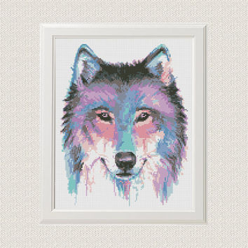 Wolf Cross Stitch Pattern Watercolor Animal Printable PDF Digital Dog Husky Embroidery Animals Funny Modern Cute Wall art Decor