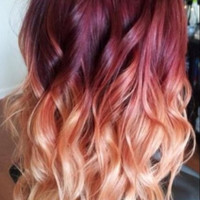 Red Violet Peach Ombre Hair, Auburn Ombre, Georgian Sunset Ombre Hair, Red Violet with a slow fade to Peach and Blonde,(7) Pieces, 18""