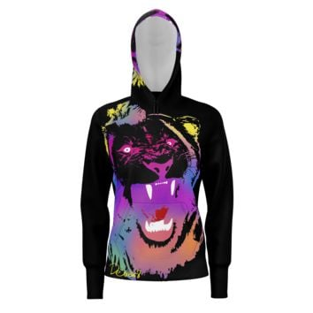 Rainbow Lion Women's Black Hoodie (French Terry)