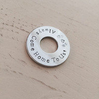 Military Deployment, Military Spouse, Chrome Washer, Husband, Personalized Gift, Father's Day, Pocket Coin or Mens Keychain