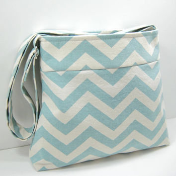Blue Chevron Messenger, Small Chevron Cross Body Purse, with Inside Zippered Pocket, Ready to Ship
