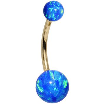 14kt Yellow Gold Blue Synthetic Opal Belly Ring
