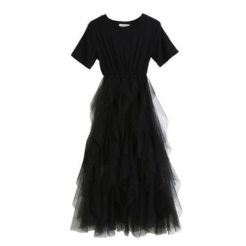 Temperament super fairy floating net sand stitching dress