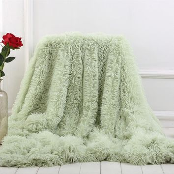 XC USHIO Multi-color Throw Blanket For Bed Sofa Newest Super Soft Long Shaggy Warm Bedding Sheet Christmas Gift Bedspread