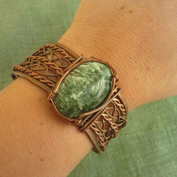 Shop wire wrapped jewelry for men on wanelo seraphinite wire wrapped copper bangle bracelet handmade seraph publicscrutiny Image collections