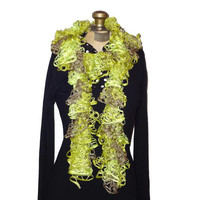 Ruffle Scarf Lime Green Handmade Knitted