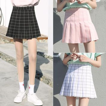 Harajuku Women Plaid Skirt Preppy Style Pleat Skirts Mini Cute School Uniforms Saia Faldas Ladies Jupe Kawaii Skirt SK5071