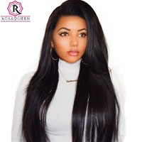 250% Density Lace Front Human Hair Wigs For Women Brazilian Straight Pre Plucked Frontal Lace Wig Natural Black Rosa Queen Remy