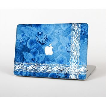 The Vibrant Blue & White Floral Lace Skin for the Apple MacBook Air 13""