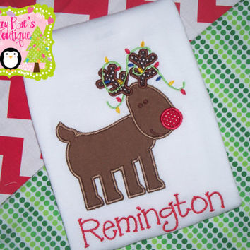 Christmas applique shirt- Reindeer applique shirt- Christmas shirt- Santa shirt