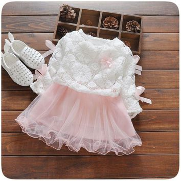 Spring Autumn Long Sleeve Baby Bow Lace Mesh Flower Party Birthday Girls Kids Dresses, Princess Infant Tutu Dress Vestido S2203