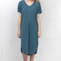 Short Sleeve Modal Side Slits Midi Dress {Misty Teal}