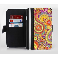 The Neon Orange Paisley Pattern Ink-Fuzed Leather Folding Wallet Credit-Card Case for the Apple iPhone 6/6s, 6/6s Plus, 5/5s and 5c