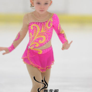 ice skating dress children competition ice skating dress for kids hot sale new brand figure skating competition dress kids A332