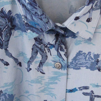 western wear womens shirt size L woolrich / horses cowboys western themed shirt womens size L