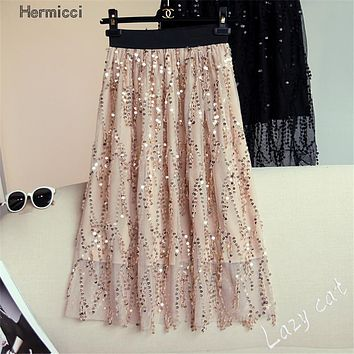 2017 Summer New Fashion Tassels Gold Sequin Midi Skirt Women Elegant Summer Skirts Embroidery Mesh Skirt Women Bottoms
