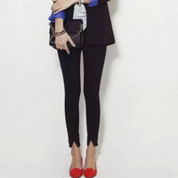 Plain Skinny Zippered Pants With Slit