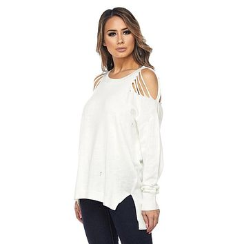 White Distressed Knit Top
