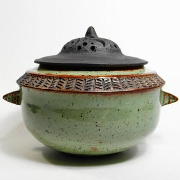 Green stoneware urn, lidded jar, pet urn, treasure jar, stash jar, wish jar, keepsake urn, decorative jar, storage jar
