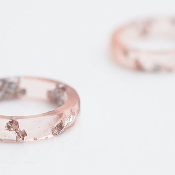 Nude Resin Ring Stacking Ring Silver Flakes Faceted Ring OOAK pastel pink geometric wedding jewelry