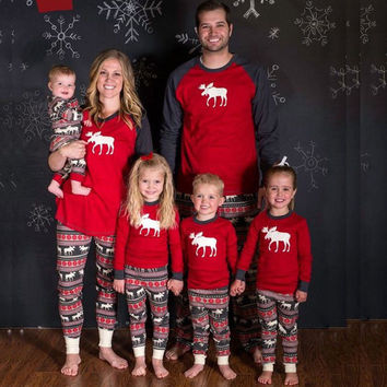 Christmas Deer Cotton Sleepwear Christmas Home Long Sleeve Set [9430384964]