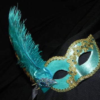 Lace and Feather Masquerade Mask in Shades of Gold and Aqua